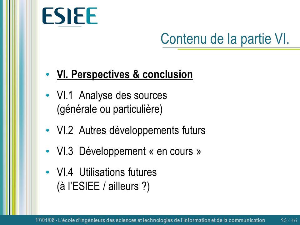 Contenu de la partie VI. VI. Perspectives & conclusion