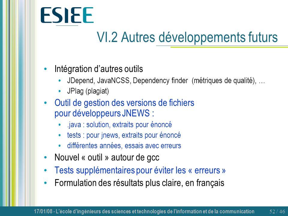 VI.2 Autres développements futurs