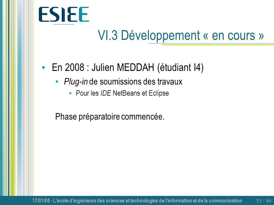 VI.3 Développement « en cours »