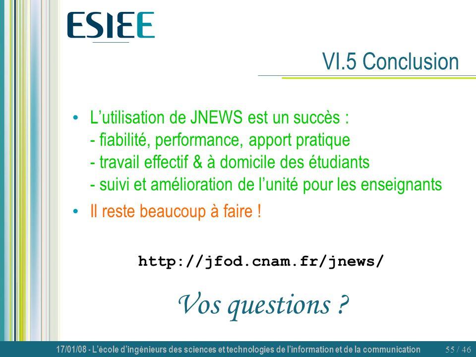 Vos questions VI.5 Conclusion
