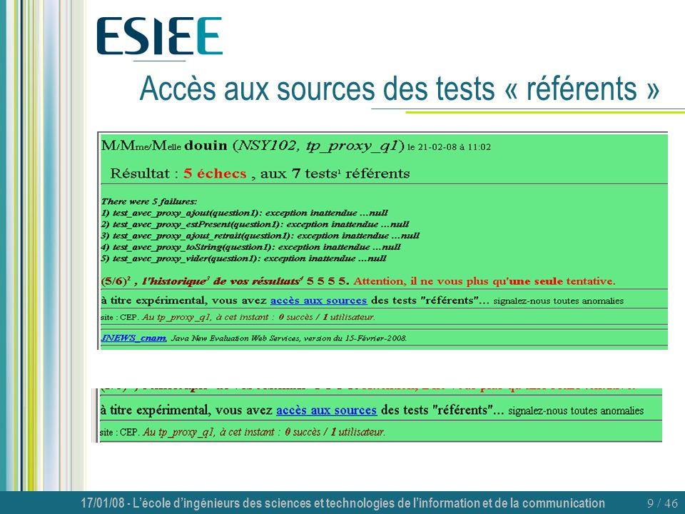 Accès aux sources des tests « référents »