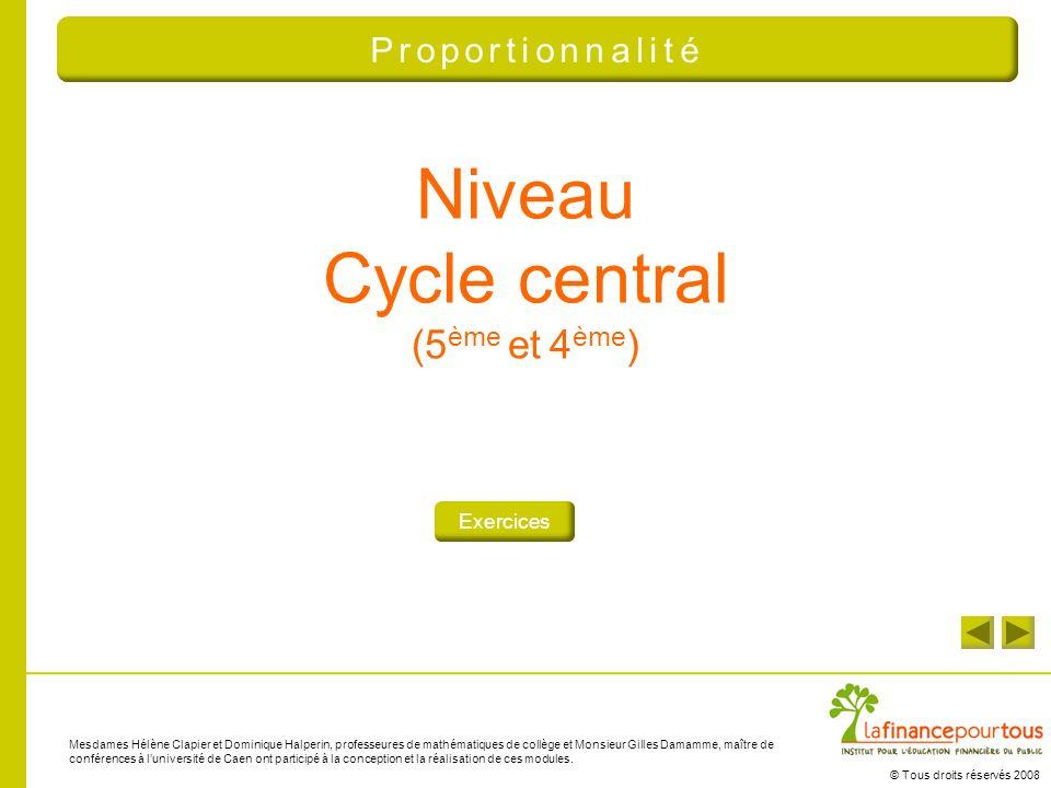Niveau Cycle central (5ème et 4ème) Proportionnalité Exercices