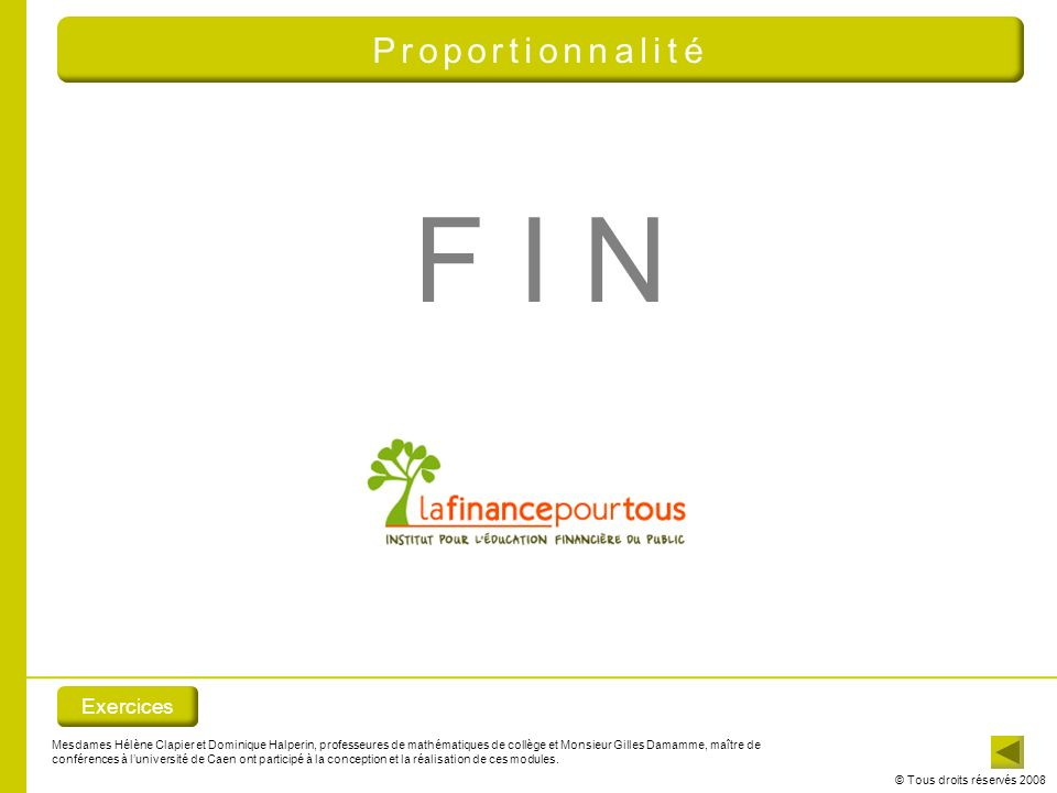 F I N Proportionnalité Exercices