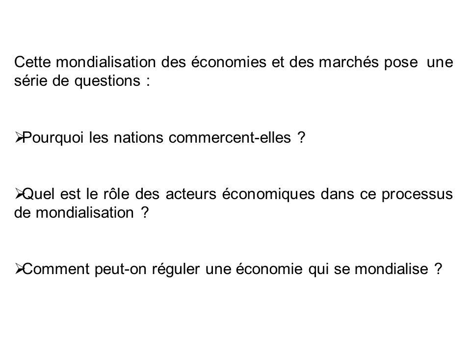 Cette mondialisation des économies et des marchés pose une série de questions :
