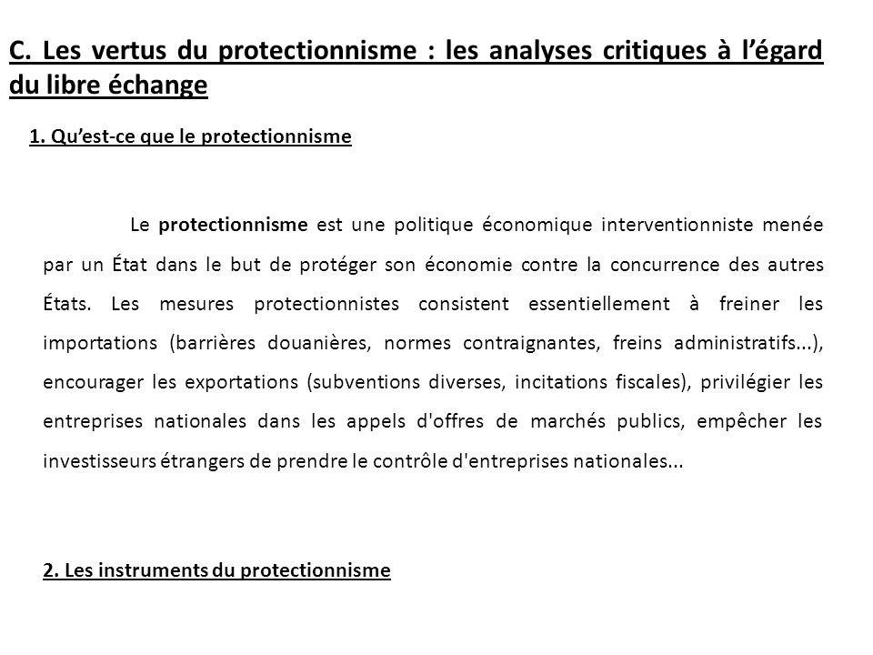 C. Les vertus du protectionnisme : les analyses critiques à l'égard du libre échange