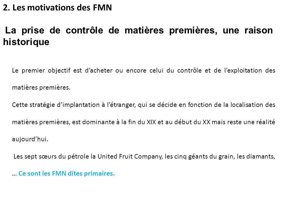 2. Les motivations des FMN