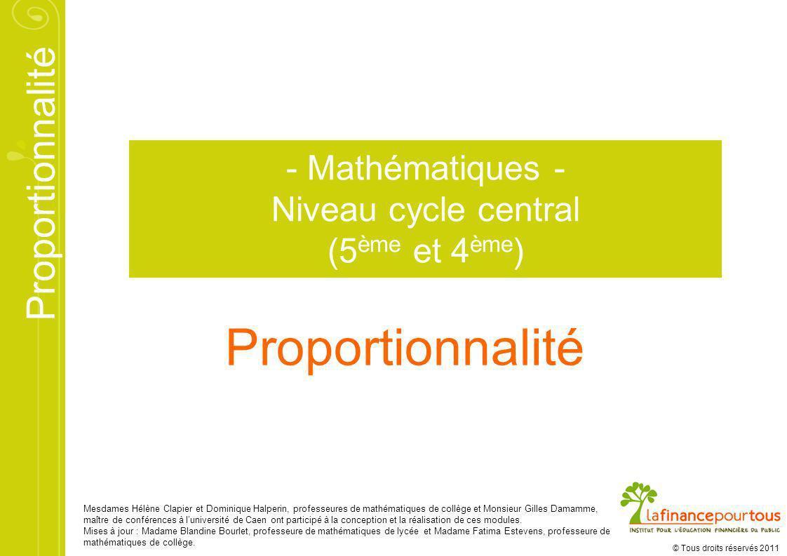 Proportionnalité - Mathématiques - Niveau cycle central (5ème et 4ème)