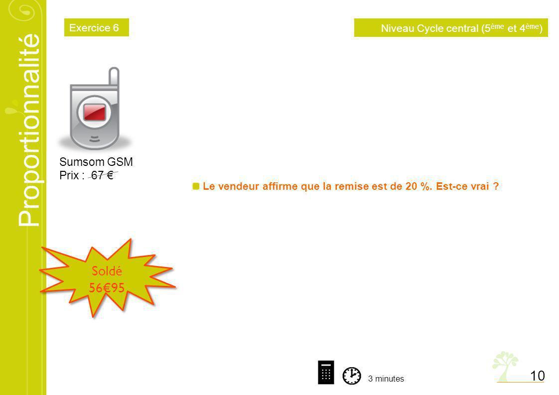 Soldé 56€95 10 Sumsom GSM Prix : 67 € Exercice 6