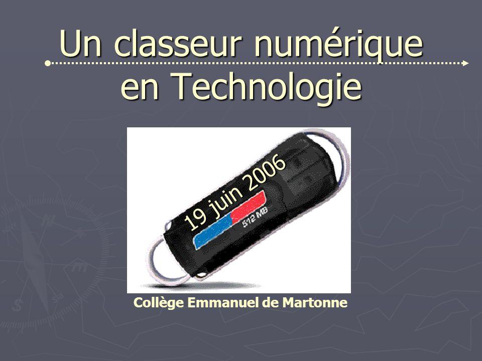 Un classeur numérique en Technologie