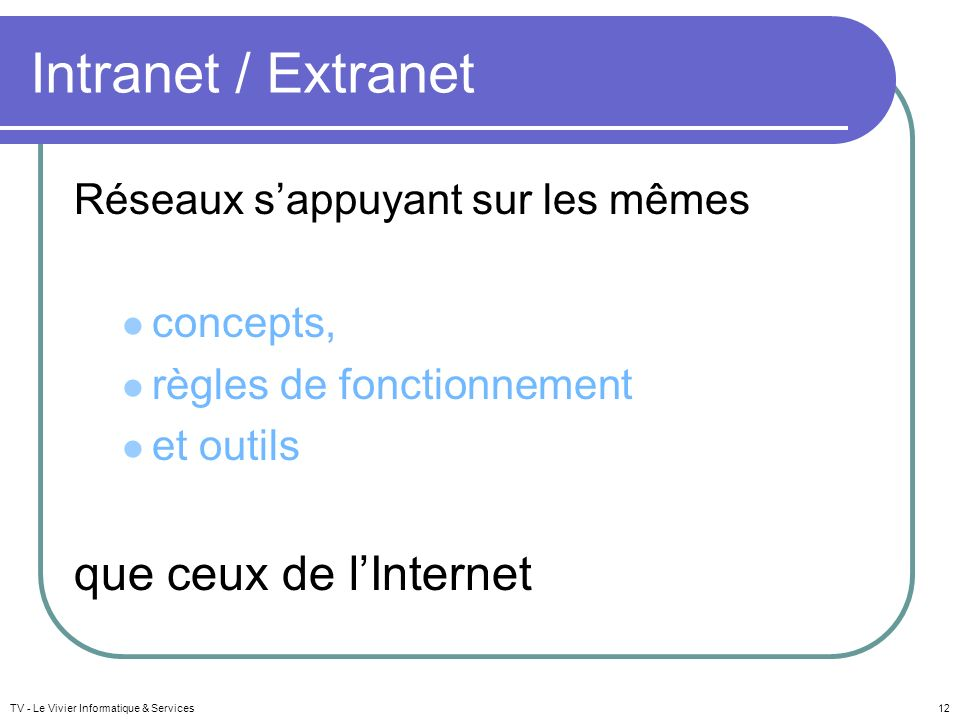 Intranet / Extranet que ceux de l'Internet