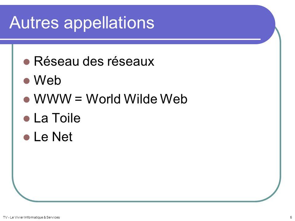 Autres appellations Réseau des réseaux Web WWW = World Wilde Web