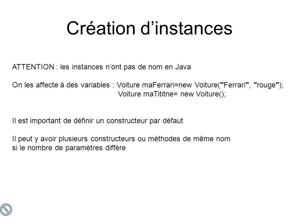 Création d'instances ATTENTION : les instances n'ont pas de nom en Java.