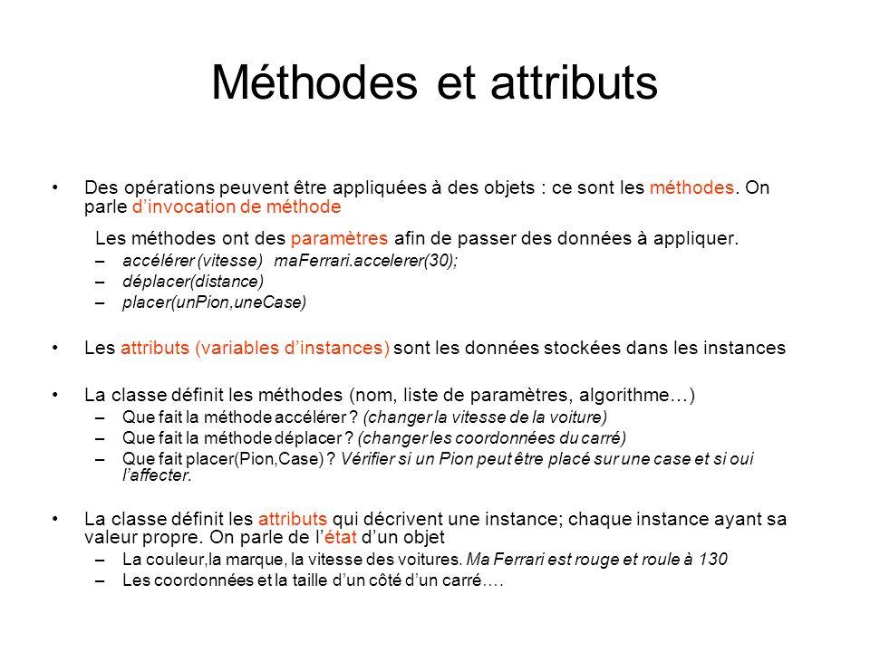 Méthodes et attributs Des opérations peuvent être appliquées à des objets : ce sont les méthodes. On parle d'invocation de méthode.
