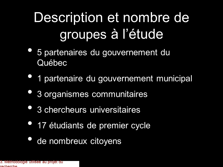 Description et nombre de groupes à l'étude