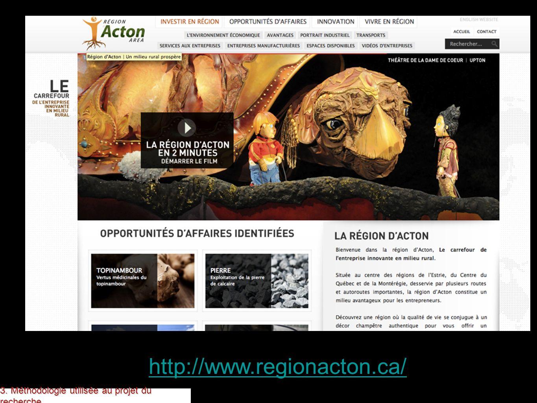 http://www.regionacton.ca/ 3. Méthodologie utilisée au projet du recherche