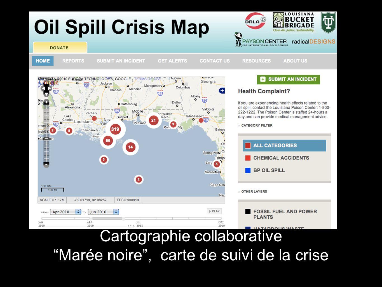 Cartographie collaborative Marée noire , carte de suivi de la crise