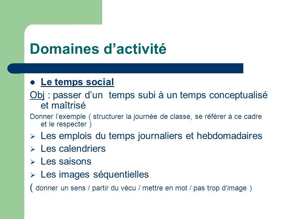 Domaines d'activité Le temps social