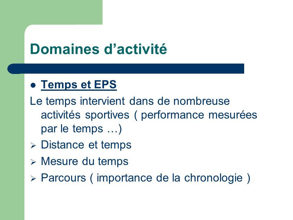 Domaines d'activité Temps et EPS