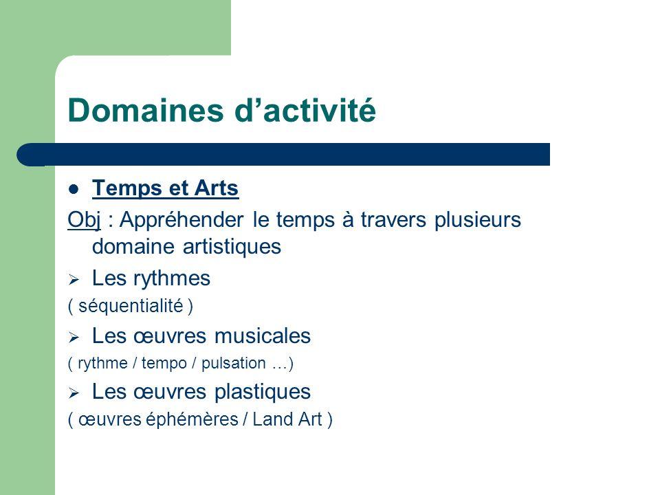 Domaines d'activité Temps et Arts