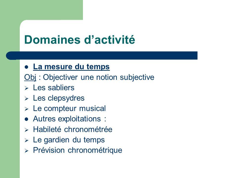 Domaines d'activité La mesure du temps