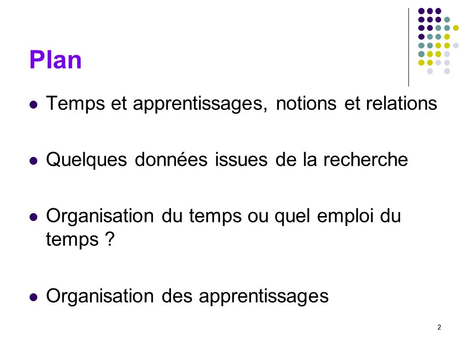 Plan Temps et apprentissages, notions et relations