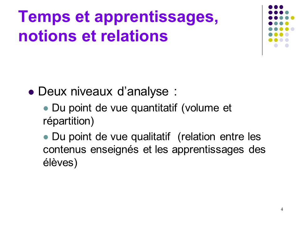 Temps et apprentissages, notions et relations