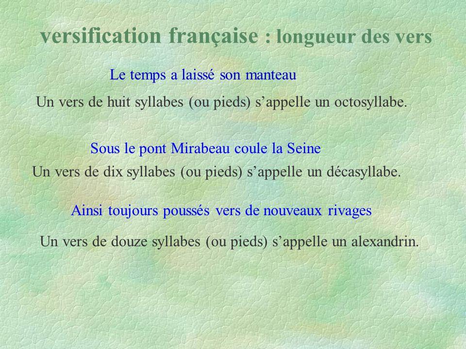 versification française : longueur des vers