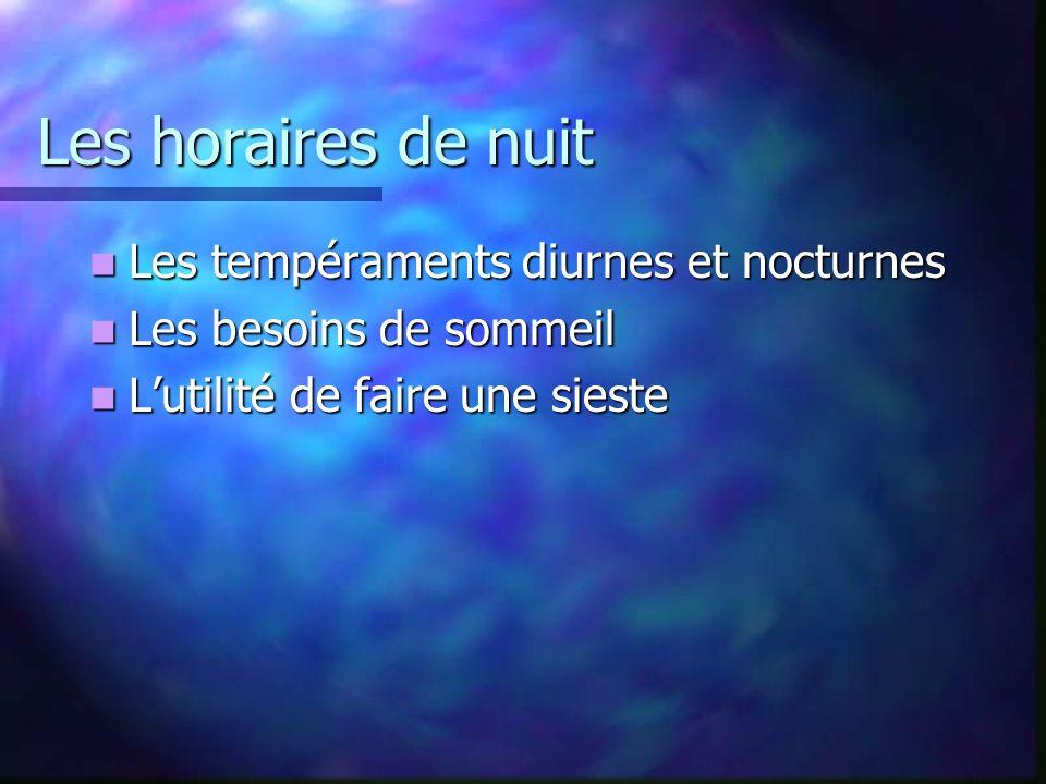 Les horaires de nuit Les tempéraments diurnes et nocturnes
