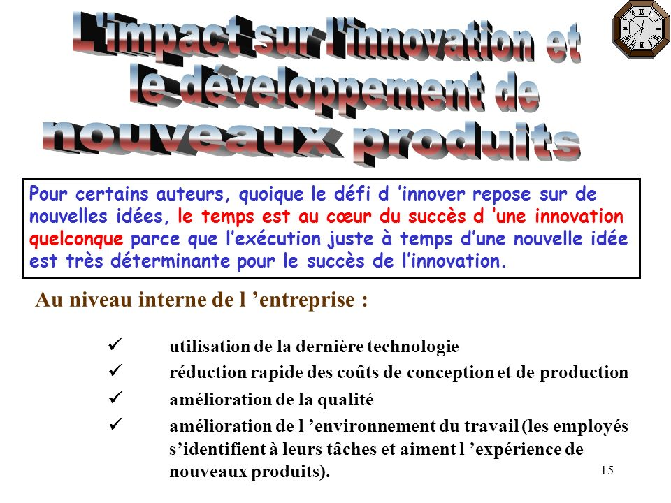L impact sur l innovation et