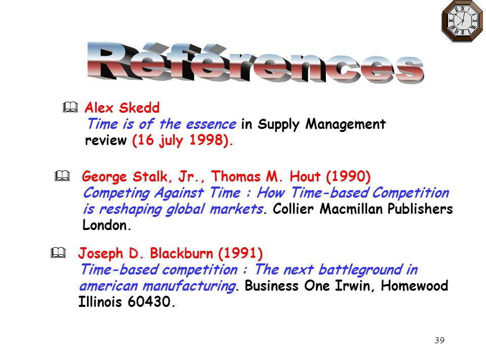Références  Alex Skedd Time is of the essence in Supply Management