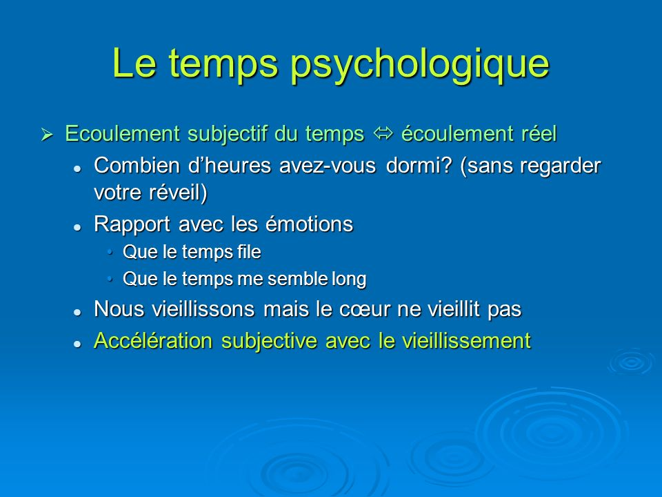 Le temps psychologique