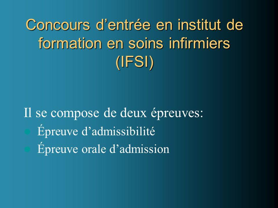 Concours d'entrée en institut de formation en soins infirmiers (IFSI)