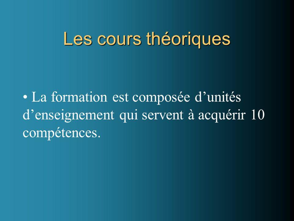 Les cours théoriques La formation est composée d'unités d'enseignement qui servent à acquérir 10 compétences.
