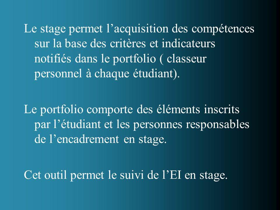 Le stage permet l'acquisition des compétences sur la base des critères et indicateurs notifiés dans le portfolio ( classeur personnel à chaque étudiant).