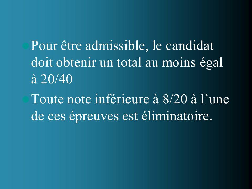 Pour être admissible, le candidat doit obtenir un total au moins égal à 20/40