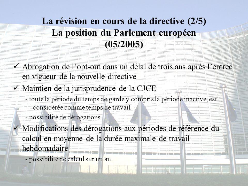 La révision en cours de la directive (2/5) La position du Parlement européen (05/2005)