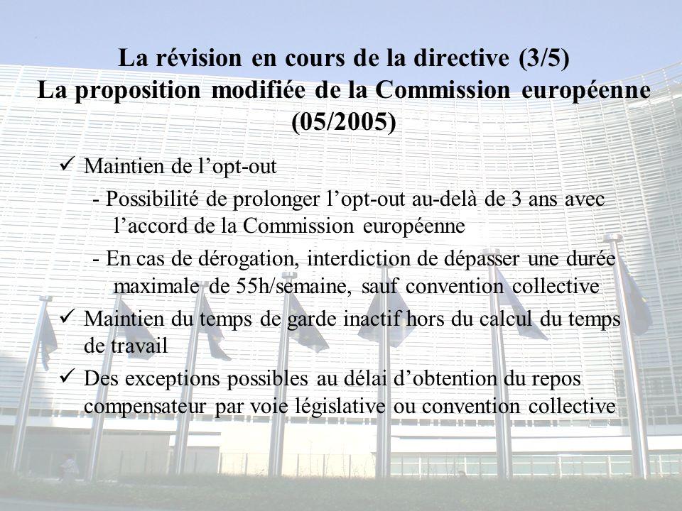 La révision en cours de la directive (3/5) La proposition modifiée de la Commission européenne (05/2005)