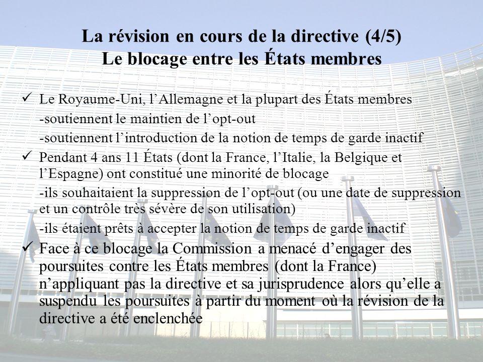 La révision en cours de la directive (4/5) Le blocage entre les États membres