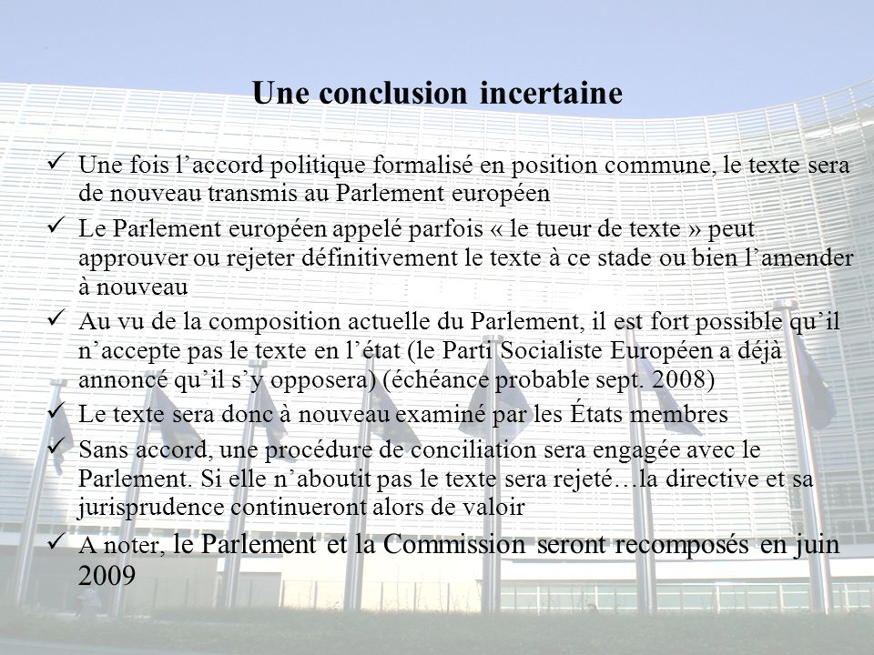 Une conclusion incertaine