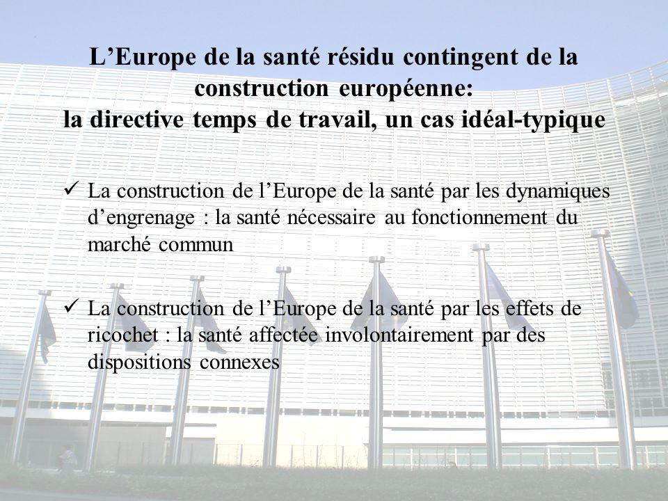 L'Europe de la santé résidu contingent de la construction européenne: la directive temps de travail, un cas idéal-typique