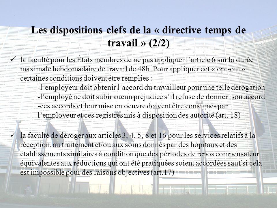 Les dispositions clefs de la « directive temps de travail » (2/2)