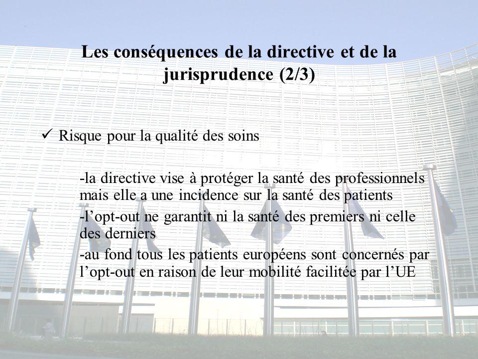 Les conséquences de la directive et de la jurisprudence (2/3)
