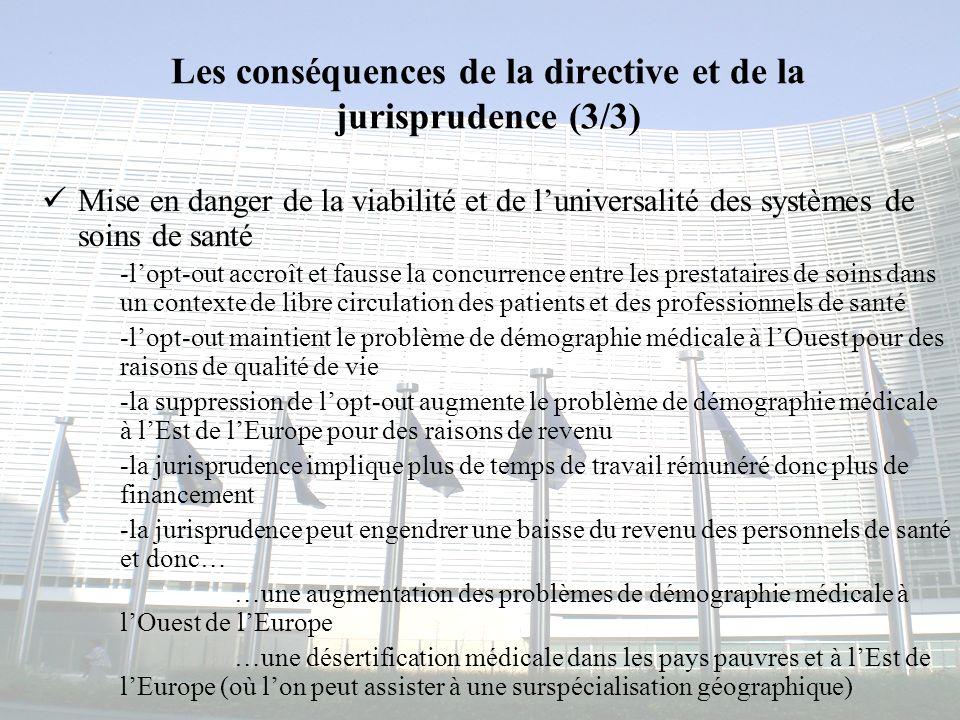 Les conséquences de la directive et de la jurisprudence (3/3)