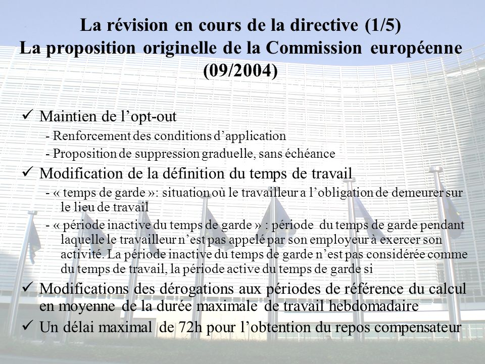 La révision en cours de la directive (1/5) La proposition originelle de la Commission européenne (09/2004)