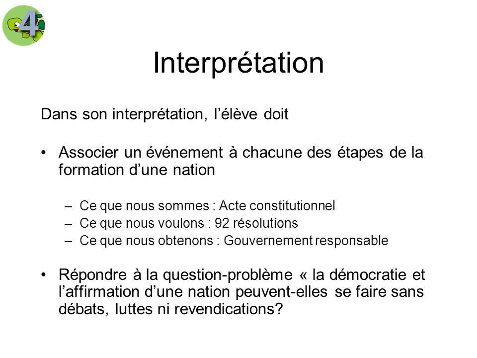 Interprétation Dans son interprétation, l'élève doit