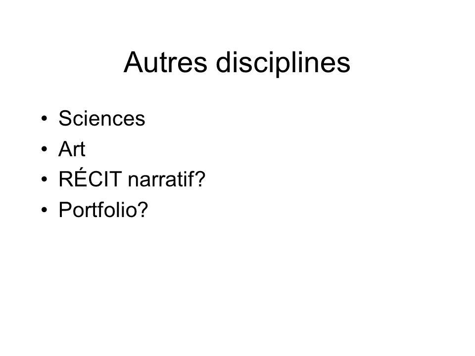 Autres disciplines Sciences Art RÉCIT narratif Portfolio steve