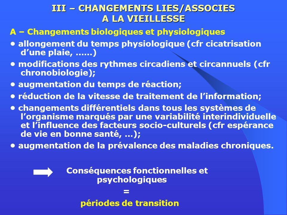 III – CHANGEMENTS LIES/ASSOCIES A LA VIEILLESSE