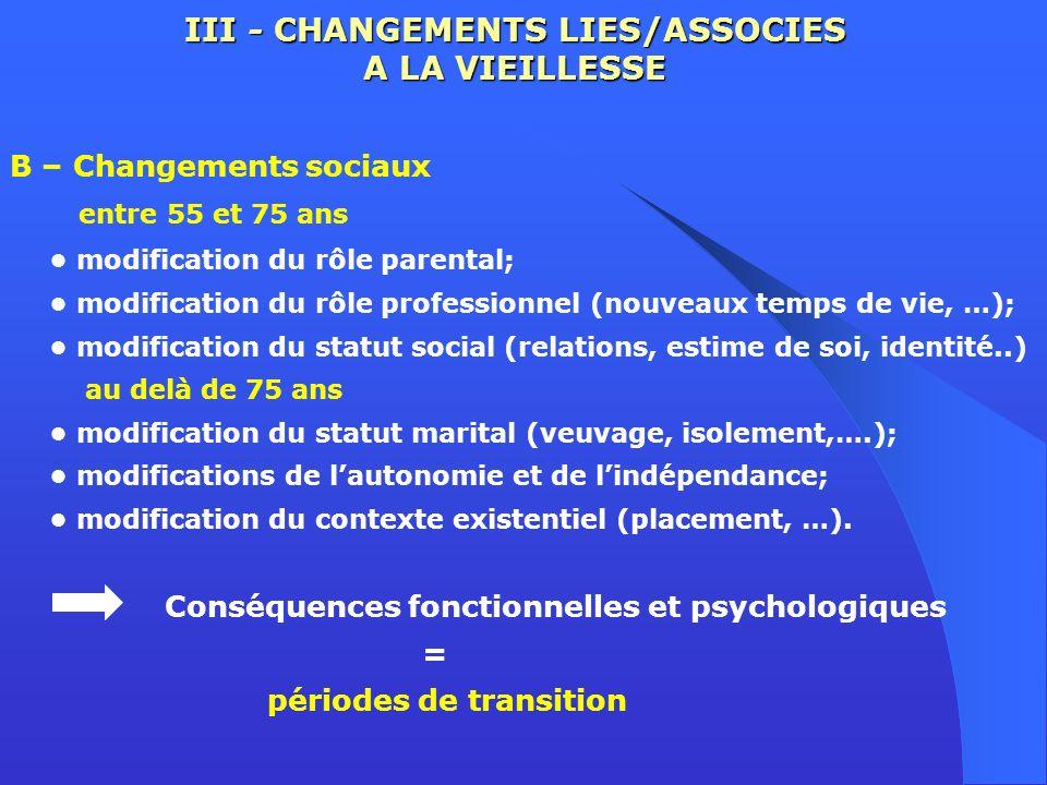 III - CHANGEMENTS LIES/ASSOCIES A LA VIEILLESSE