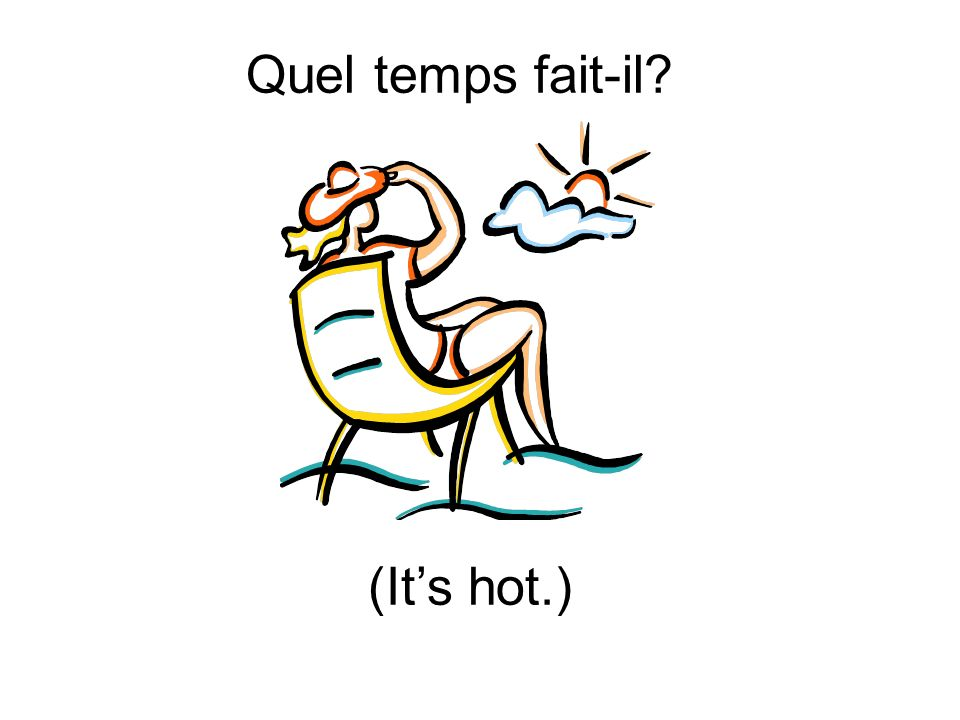 Quel temps fait-il (It's hot.)