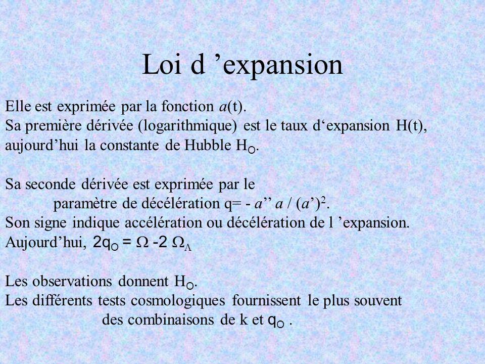 Loi d 'expansion Elle est exprimée par la fonction a(t).